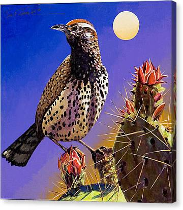 Canvas Print featuring the painting Cactus Wren by Bob Coonts