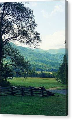 Cades Cabin View Canvas Print by Laurie Perry