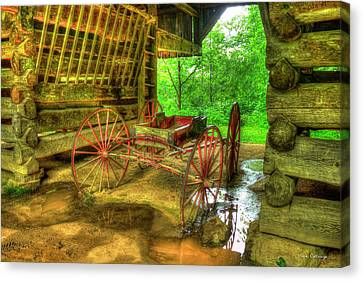 Cades Cove Carriage At Cantilever Barn Canvas Print by Reid Callaway