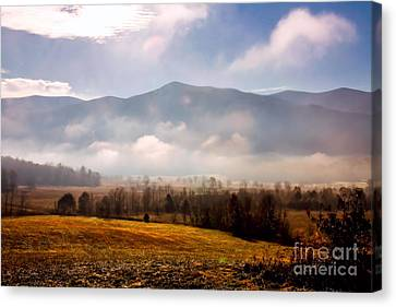 Cades Cove Misty Morn Canvas Print by Marilyn Carlyle Greiner