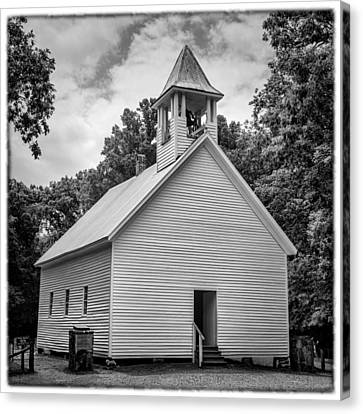 Cades Cove Primitive Baptist Church - Bw W Border Canvas Print by Stephen Stookey