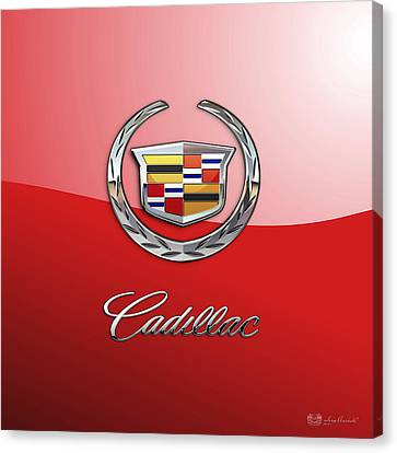 Cadillac - 3 D Badge On Red Canvas Print by Serge Averbukh