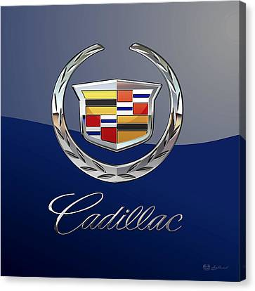 Cadillac 3 D  Badge Special Edition On Blue Canvas Print by Serge Averbukh