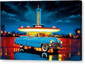 Cadillac Diner Canvas Print by MGL Studio - Chris Hiett