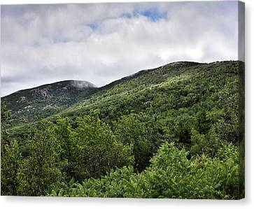 Cadillac Mountain On Right And Dorr Mountain On Left Canvas Print by Brendan Reals