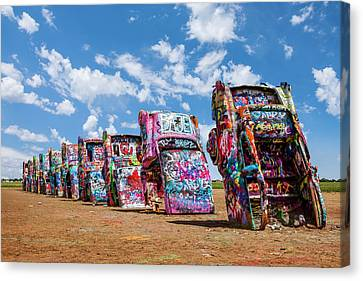 Cadillac Ranch Painted Sculpture Canvas Print
