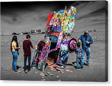 Canvas Print featuring the photograph Cadillac Ranch Spray Paint Fun Along Historic Route 66 By Amarillo Texas by Randall Nyhof