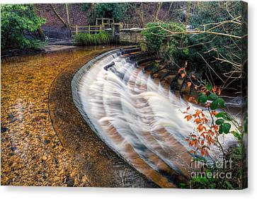 Caeau Weir Canvas Print by Adrian Evans