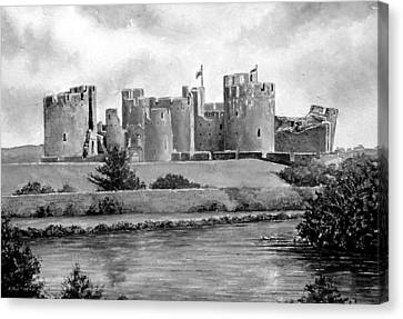 Caerphilly Castle Bw Canvas Print by Andrew Read