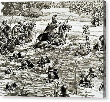 Caesar's Legions Crossing The Thames Canvas Print by Pat Nicolle
