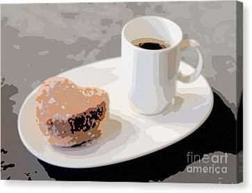 Cafe Americano And Heart Shaped Doughnut Canvas Print by Ari Salmela
