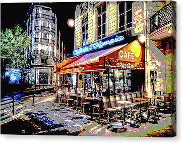 Cafe At Night Canvas Print