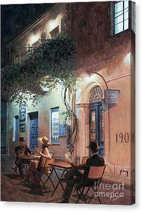 Larnaca Canvas Print - Cafe At Night by Theo Michael