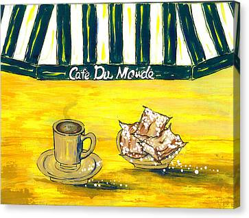 Cafe Au Lait And Beignets On Yellow Background Canvas Print by Catherine Wilson