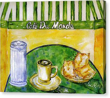 Cafe Au Lait And Beignets With Sugar Canvas Print by Catherine Wilson