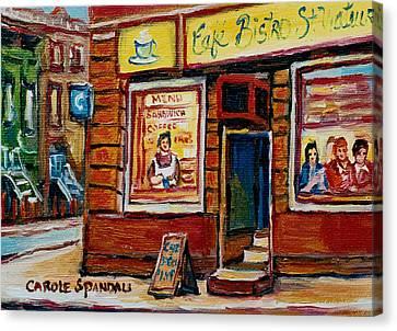 Cafe Bistro St. Viateur Canvas Print by Carole Spandau
