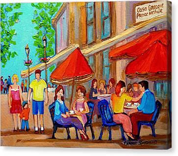 Cafe Casa Grecque Prince Arthur Canvas Print by Carole Spandau