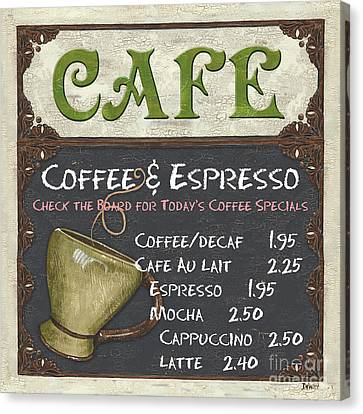 Cafe Chalkboard Canvas Print by Debbie DeWitt