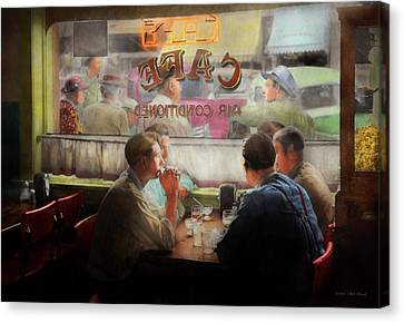 Canvas Print - Cafe - Cold Drinks With Friends 1941 by Mike Savad