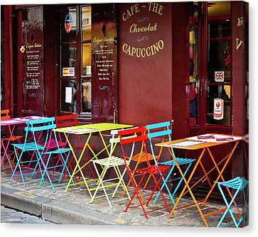 Cafe Color - Paris, France Canvas Print by Melanie Alexandra Price