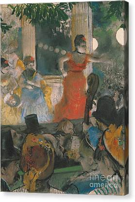 Cafe Canvas Print - Cafe Concert At Les Ambassadeurs by Edgar Degas