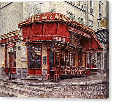Cafe Des 2 Moulins- Paris Canvas Print by Joey Agbayani