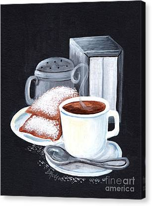 Cafe Du Monde On Black Canvas Print by Elaine Hodges