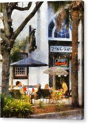 Canvas Print featuring the digital art Cafe by Francesa Miller