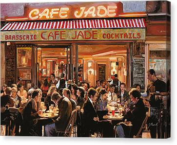 Wine Scene Canvas Print - Cafe Jade by Guido Borelli