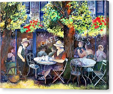 Wrought Iron Bicycle Canvas Print - Cafe Jules by Lisa Graa Jensen