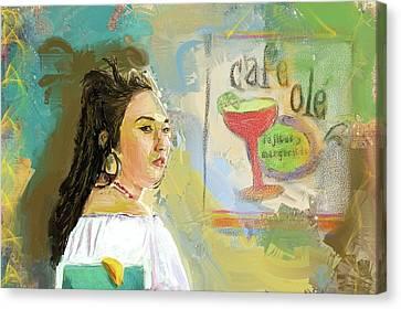Cafe Ole Girl Canvas Print