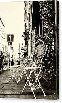 Cafe On A Brussels Street Canvas Print by Georgia Fowler