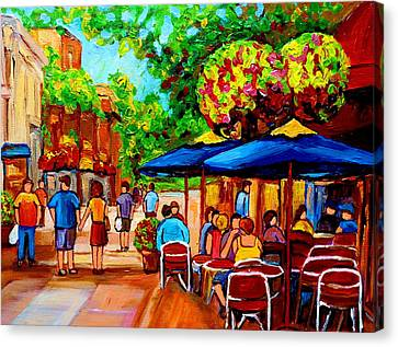 Cafe On Prince Arthur  In Montreal  Canvas Print by Carole Spandau