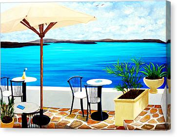 Cafe On The Rim, Santorini - Prints Of Original Oil Painting Canvas Print by Mary Grden Fine Art Oil Painter Baywood Gallery