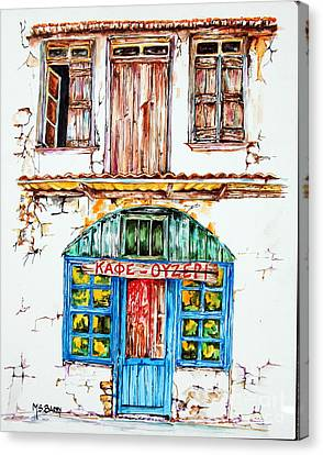 Canvas Print featuring the painting Cafe Ouzeri by Maria Barry