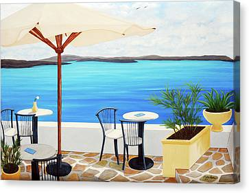 Cafe Santorini On The Rim  Canvas Print