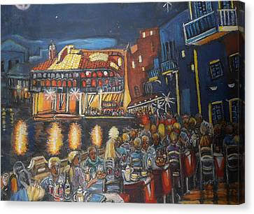 Cafe Scene At Night Canvas Print