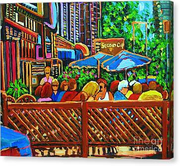 Canvas Print featuring the painting Cafe Second Cup by Carole Spandau