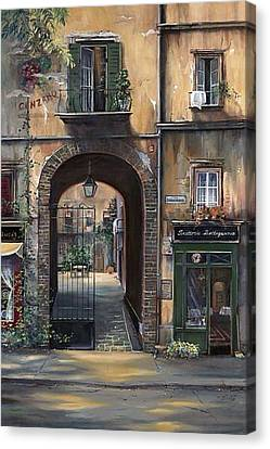 Cafe Sienna Italy Canvas Print by Barbara Davies