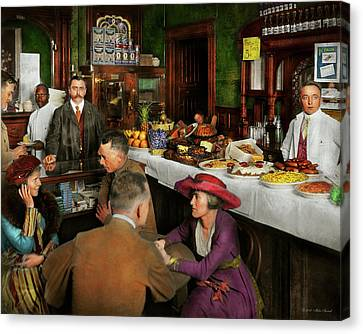 Brunch Canvas Print - Cafe - Temptations 1915 by Mike Savad