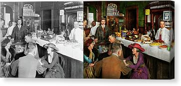 Canvas Print featuring the photograph Cafe - Temptations 1915 - Side By Side by Mike Savad