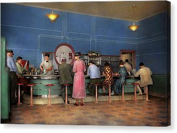 Canvas Print - Cafe - The Half Way Point 1938 by Mike Savad