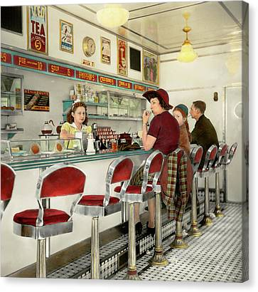 Burger Canvas Print - Cafe - The Local Hangout 1941 by Mike Savad