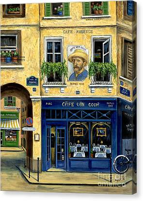Portraits Of Cats Canvas Print - Cafe Van Gogh by Marilyn Dunlap