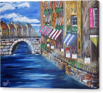 Cafe Walk Canvas Print by Penny Everhart