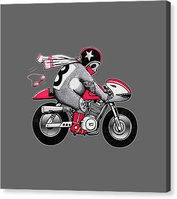 Caferacer Panda Canvas Print by Illustratorial Pulse