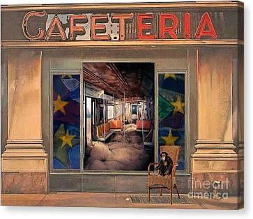 Canvas Print featuring the painting Cafeteria by Mojo Mendiola