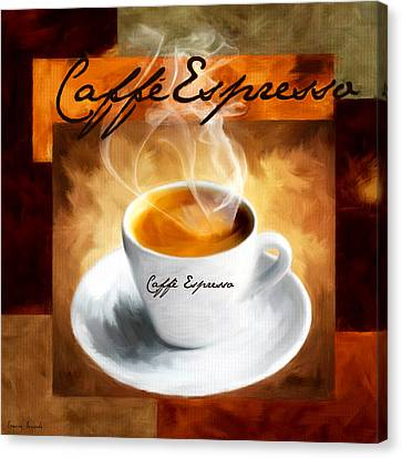 Bistro Canvas Print - Caffe Espresso by Lourry Legarde