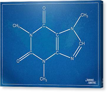Caffeine Molecular Structure Blueprint Canvas Print by Nikki Marie Smith