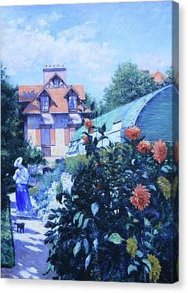 Gennevilliers Canvas Print - Caillebotte's Dahlias, Garden At Petit Gennevilliers by Cora Wandel